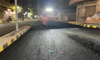 رصف شارعي زغلول والسيسي بحي الهرم