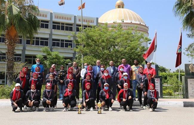 جامعة الفيوم: تكريم فريق كلية التربية الرياضية لفوزه بالمركز الثاني على مستوى الجامعات المصرية