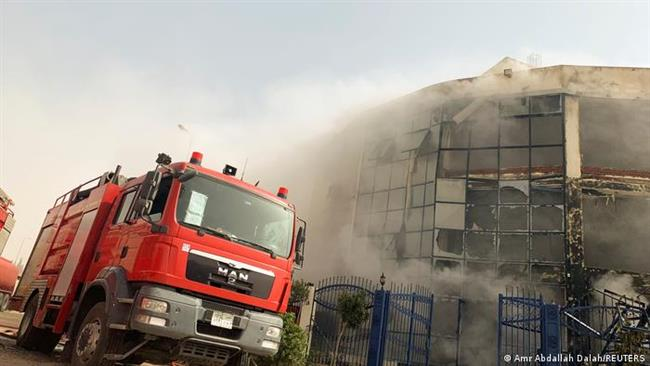 إخماد حريق بمطابع مبنى هيئة المساحة بالهرم