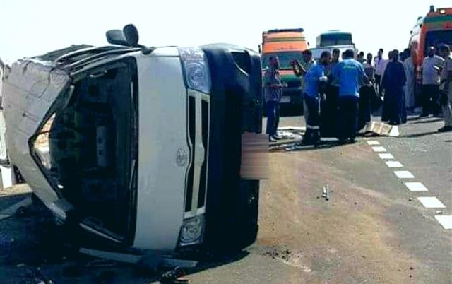 مصرع شخص وزوجته في حادث انقلاب سيارة بالبحيرة